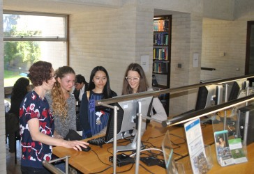 Picture showing the Librarian giving an induction tour to students at the start of Michaelmas term